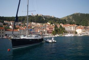 Our yacht under sails in Split